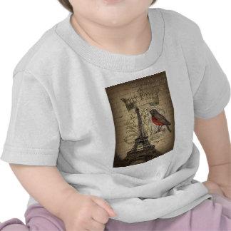 elegant crown robin eiffel tower paris Vintage T-shirts