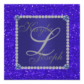 Elegant Crystal BLUE Wedding INVITATION