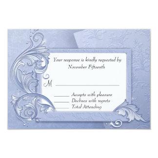 Elegant Crystal Blue Winter Wedding RSVP Card 9 Cm X 13 Cm Invitation Card
