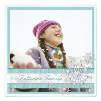 Elegant Crystal Snowflake Two Photo Greeting 13 Cm X 13 Cm Square Invitation Card