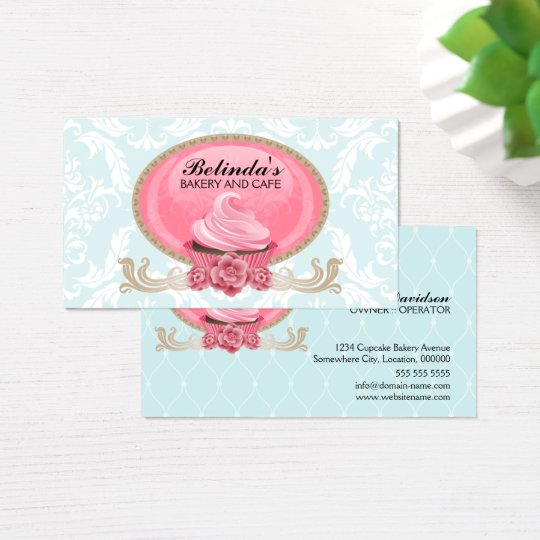 Elegant Cupcake Bakery Custom Business Card