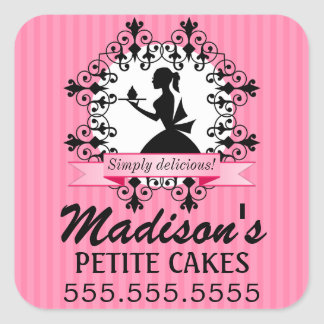 Elegant Cupcake Bakery Lady Silhouette Pink Square Sticker