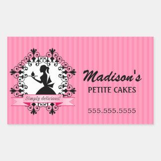 Elegant Cupcake Bakery Lady Silhouette Pink Rectangular Sticker