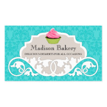 Elegant Cupcake Bakery Swirl Damask