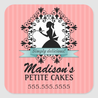 Elegant Cupcake Silhouette Bakery Stickers