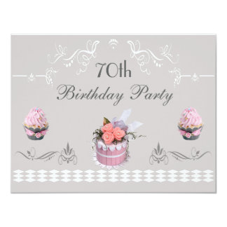 Elegant Cupcakes Pink & Grey 70th Birthday Card