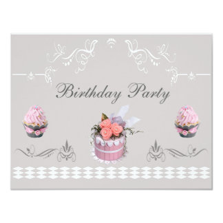 Elegant Cupcakes Pink & Grey Birthday Party 11 Cm X 14 Cm Invitation Card