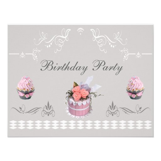 Elegant Cupcakes Pink & Grey Birthday Party Custom Invitations