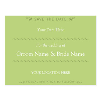 Elegant Curl Green Save the Date Postcard