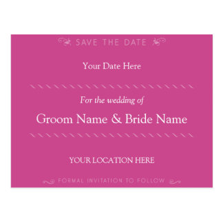 Elegant Curl Hot Pink Save the Date Postcard