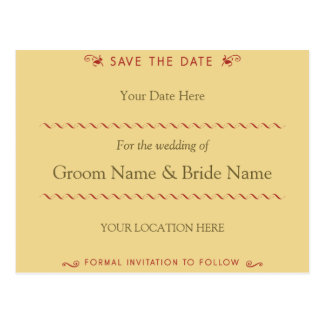 Elegant Curl Red and Cream Save the Date Postcard