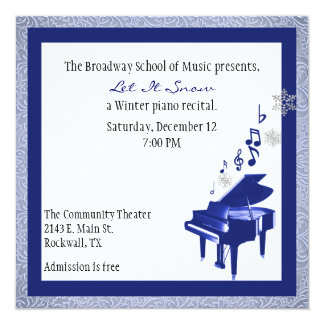 Elegant Custom Blue Piano Recital Invitation