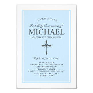Elegant Custom Color Communion Invitation Blue