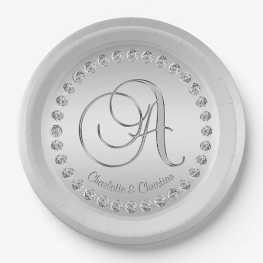Elegant Custom Diamond Silver Monogram Wedding Paper Plate