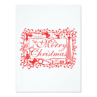 Elegant Custom Merry Christmas Floral Pattern 17 Cm X 22 Cm Invitation Card