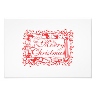 Elegant Custom Merry Christmas Floral Pattern Card Photograph