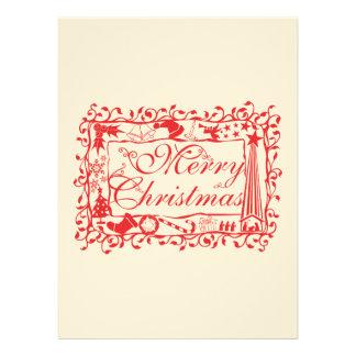 Elegant Custom Merry Christmas Floral Pattern Invitations