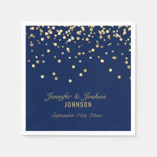 421b17c69619 Elegant Custom NAVY BLUE Gold Confetti Wedding Paper Napkin