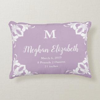 Elegant Custom Pale Purple and White Girl's Decorative Cushion