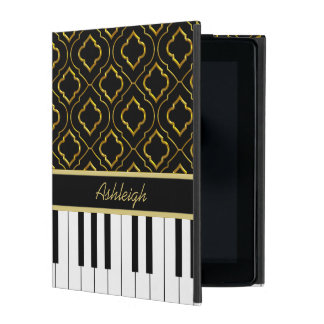 Elegant Custom Piano Keys with Gold Quatrefoil iPad Folio Case