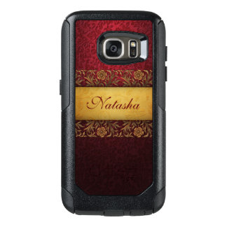 Elegant Custom Red Damask with Gold Band OtterBox Samsung Galaxy S7 Case