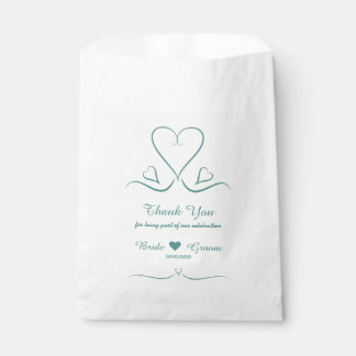 Elegant Custom Teal Wedding Heart Favor Bags
