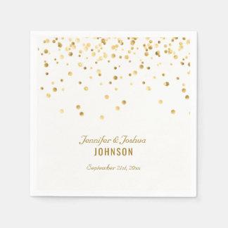 Elegant Custom White Gold Confetti Wedding Disposable Serviette
