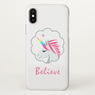 elegant cute believe in unicorns emoji iPhone x case