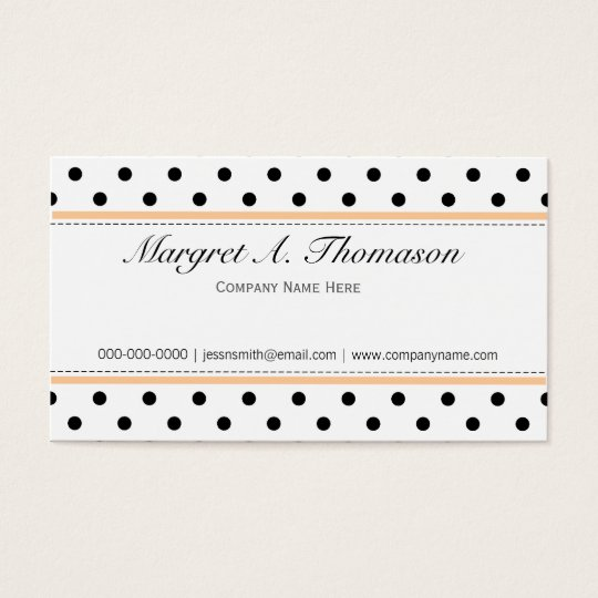 Elegant, cute,  classic B&W polka dots busines Business Card
