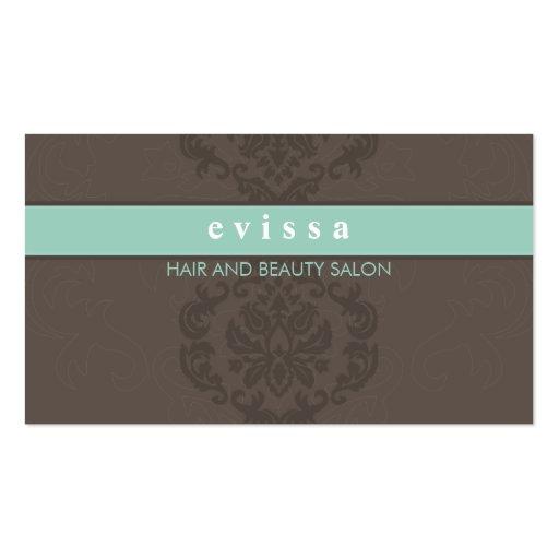 ELEGANT cute damask pattern finesse gray mint Business Card Templates