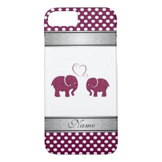Elegant cute elephants polka dots personalized iPhone 7 case