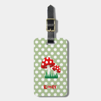 elegant cute fun girly mushrooms polka dots bag tag