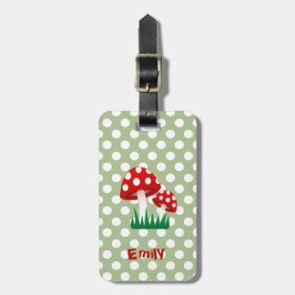 elegant cute fun girly mushrooms polka dots luggage tag