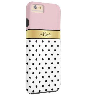 Elegant Cute Lip Gloss Pink Fashionable Polka Dots Tough iPhone 6 Plus Case