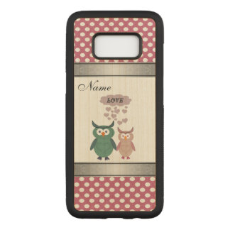 Elegant cute owls in lovepolka dots personalized carved samsung galaxy s8 case