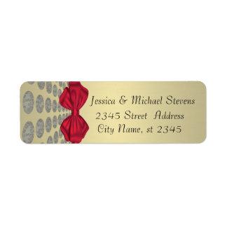 Elegant cute polka dots red bow gold wedding return address label