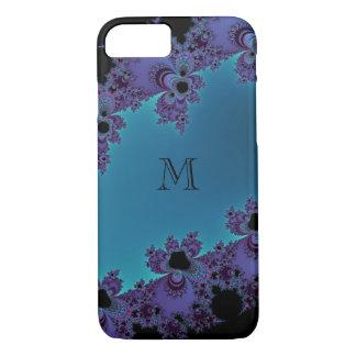 Elegant Cyan Blue Monogram Fractal iPhone 7 Case