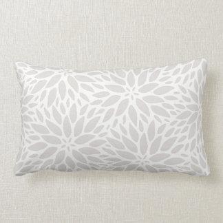 Elegant Dahlias Gray & White Lumbar Pillow