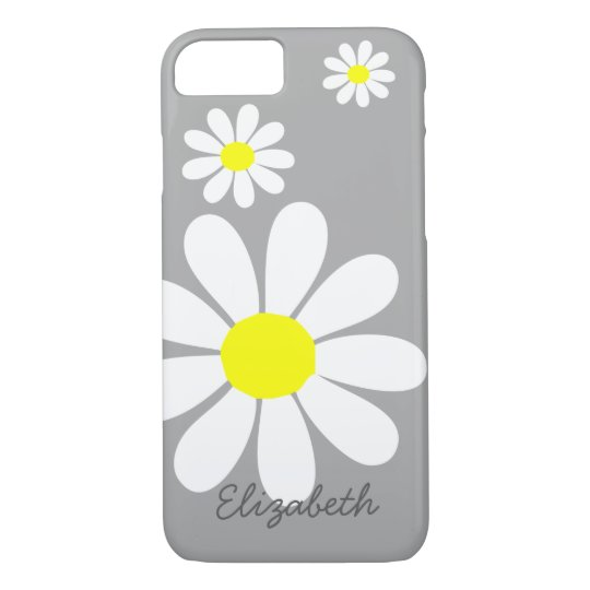 Elegant Daisies Floral Illustration Grey White iPhone 7