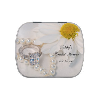 Elegant Daisy Bridal Shower Favor Candy Tin
