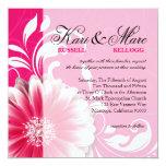 Elegant Daisy Scroll Flourish | fuchsia 13 Cm X 13 Cm Square Invitation Card