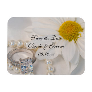 Elegant Daisy Wedding Save the Date Magnet