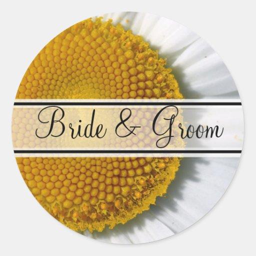 Elegant Daisy Wedding Stickers