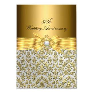 Elegant Damask 50th Wedding Anniversary Invite