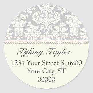 Elegant Damask Address Sticker