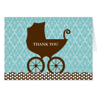 Elegant Damask and Baby Carriage Thank You Note Card