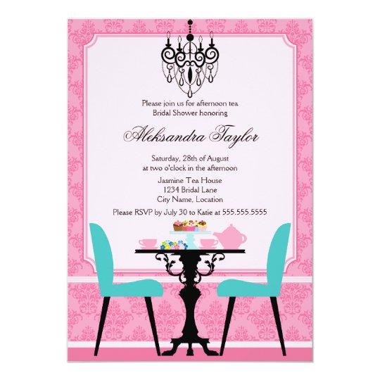 Elegant Damask and Chandelier Pink Aqua Tea Party