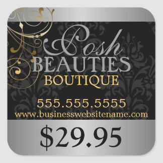 Elegant Damask and Gold Swirls Price Tag Square Sticker
