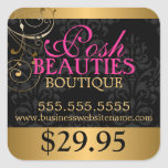 Elegant Damask and Gold Swirls Price Tag Square Stickers