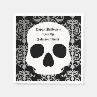 Elegant damask and skull Halloween personalized Paper Serviettes